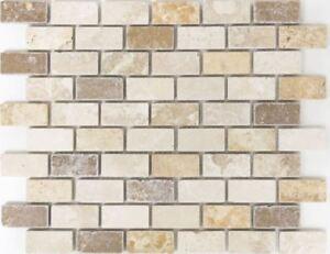 BEIGE/CREAM Mix TRAVERTINE Mosaic tile BRICK Bath Kitchen 43-46474_f ...
