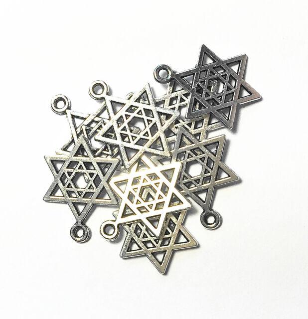 Wholesale Bulk Antique Silver Plated Star of David Hexagram Charm Pendants