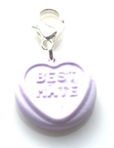 FREE GIFT BAG HANDMADE SWEET HEART LOVE HEART MESSAGES CLIP ON CHARMS FREE P/&P