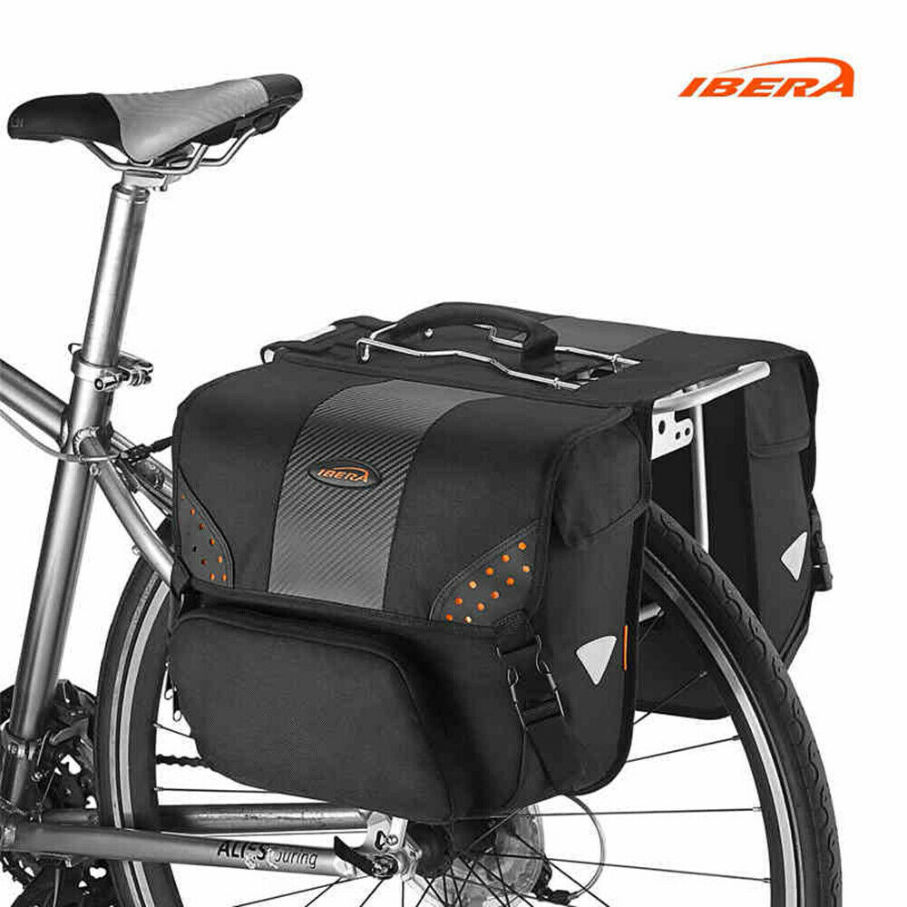 Ibera Touring Alforja Bicicleta Bolsa de montaje lateral Portaequipajes Trasero Asiento Portador Impermeable