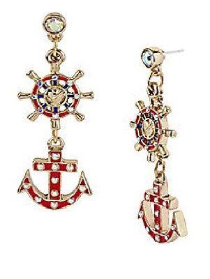 E52 Betsey Johnson Glow Red Dangling Boat Anchor Ship Sailor Wheel Earrings US