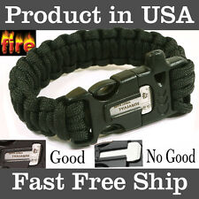 9'' Survival Paracord Bracelet with Flint Fire Starter Scraper Whistle Gear Kits