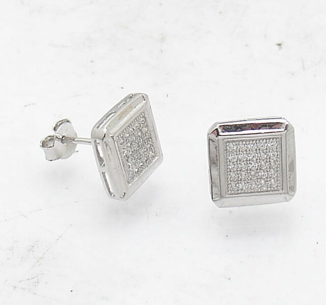 4f6c953a3 10mm Unisex Square Clear CZ Pave Stud Earrings Real 925 Sterling Silver