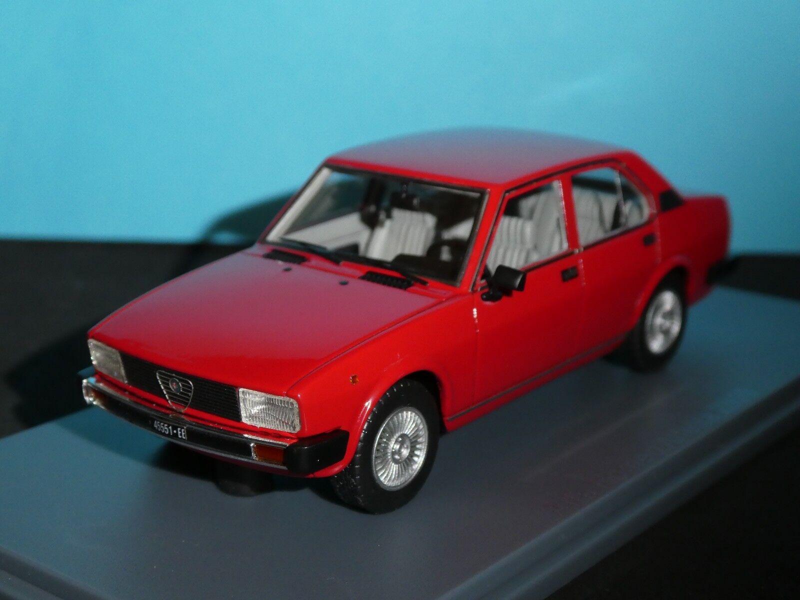 Alfa Romeo Alfetta 2000 1980 in red Corsa  Light Light Light Grey trim1 43RD Scale Neo  . 148498