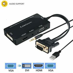 VGA to VGA HDMI DVI with Micro USB Power Adapter Converter for Desktop Laptop