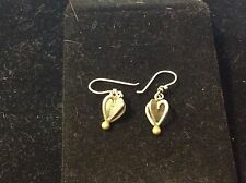 VINTAGE STERLING SILVER QUEEN OF HEARTS DANGLE EARRINGS