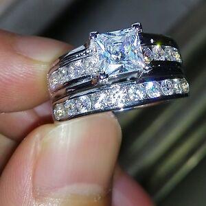 image is loading dazzling princess cut white topaz diamonique 925 silver - Diamonique Wedding Rings