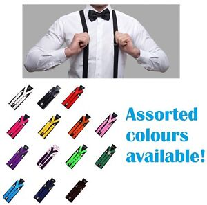 MENS-SUSPENDERS-ADJUSTABLE-CLIP-ON-LONG-STRONG-WEDDING-PARTY-WOMENS-SZ-100-CMS