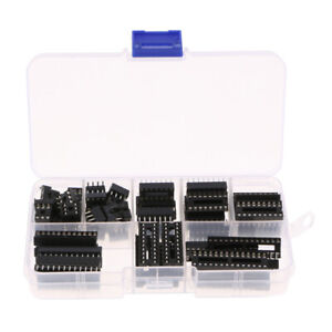 66Pcs DIP IC Sockets Adaptor Solder Type 6 8 14 16 18 20 24 28 Pins Socket Kit