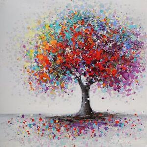 tableau peinture huile toile color arbre cadre abstrait art mural salon d cor ebay. Black Bedroom Furniture Sets. Home Design Ideas