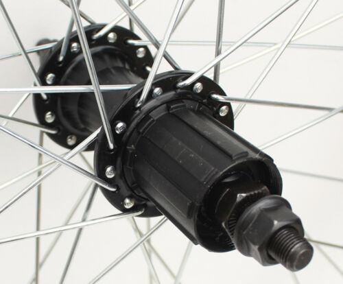 700 C roue arrière 7//8//9//10 Vitesse Cassette équipée 36 h Noir Double Paroi Jante
