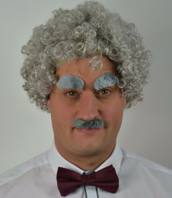 Men/'s Fancy Dress Black Afro Wig Scouse, Droop Moustache Eyebrows 80/'s