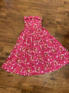pink laura ashley vintage floral prairie dress strapless