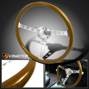 Polished-370mm-Wooden-Steel-Style-Wood-Steering-Wheel-2-5-034-Deep-w-Horn-Button