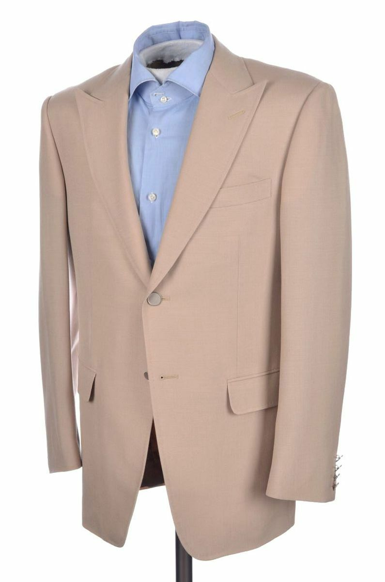 DUNHILL Recent Beige Metal Button 100% MOHAIR Peak Lapel Blazer Sport Coat 40 S