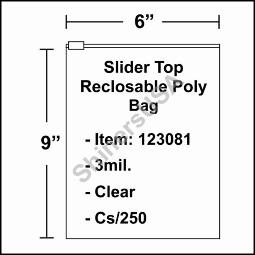 123081 3 mil Slider Top Reclosable Poly Bag 6x9 Clear Ziplock cs//250