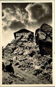 Finsterbergen-Thueringer-Wald-alte-DDR-Postkarte-1955-Huette-auf-dem-Hainfelsen