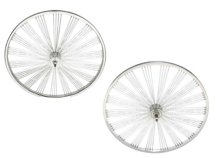 26  144 Fan spokes Front & Rear Freewheel Wheels Beach Cruiser Chopper Chrome