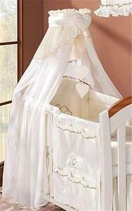 LUXURY BABY CANOPY / DRAPE + HOLDER FOR COT/ COT BED CREAM CHECK