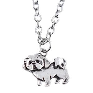 Retro Silver Shih Tzu Pendant Necklace Cute Dog Long Chain Charm