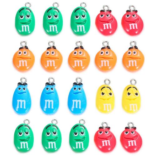 10pc Flat Back Resin Cartoon MM Bean Candy Charms Pendants DIY Necklace Bracelet