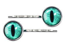 Bright Green Monster Creature Eyeball Silver Plated Glass Hair Clip Barrette Set
