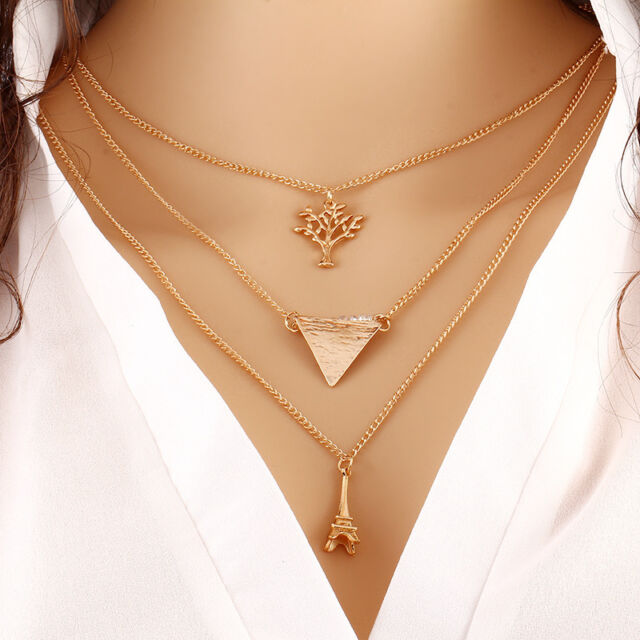Women Fashion Alloy Wisdom Tree Gold Multilayer Choker Pendant Jewelry Necklace