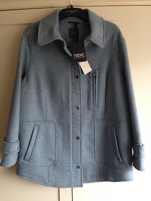 BNWT Next Ladies Size 20 RRP £90 Blue / Grey Wool Blend Winter Coat