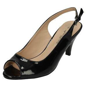 Anne Michelle f1r0592 Donna Punta Aperta Scarpe col tacco in vernice nera UK 3x8