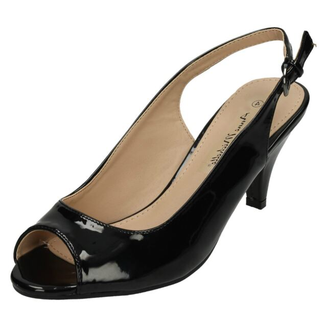 8b2414cdbf7 Anne Michelle F1R0592 Ladies Peep-toe Court Shoe Black Patent UK 3x8 (R14A)