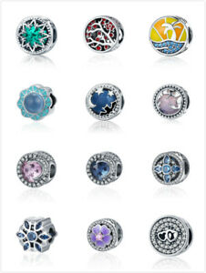 BAMOER-Solid-100-Sterling-Silver-Charm-Bead-Colorful-amp-CZ-Fit-Bracelets-Jewelry