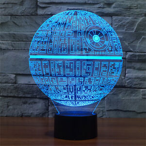 3D LED Star Wars Death Star Night Light Touch Switch Table Desk Lamp 7 Color