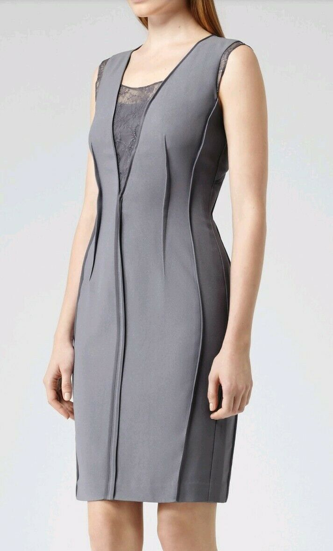 Designer REISS Amore lace insert shift dress Größe 6 --BRAND NEW-- lavender knee