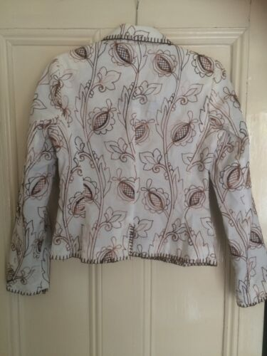 Sleeves Cotton Jacket Long Lined Uk10 More Embroidery Fitted White Semi amp;more AwEzI