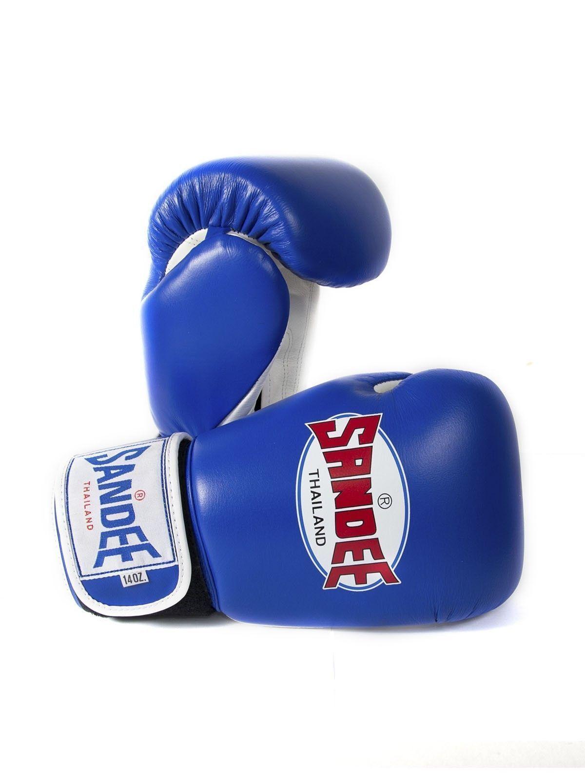Sandee Authentic Muay Thai Blau & Weiß Leder Boxing Gloves Sparring