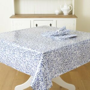 Details About William Morris Willow Bough Blue Pvc Oilcloth Fl Fabric By The Half Metre