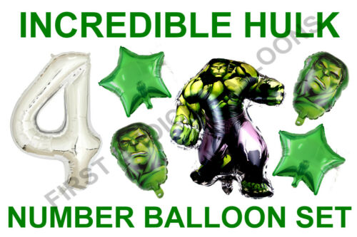 UK SELLER AGES 3 to 9 BIRTHDAY INCREDIBLE HULK  FOIL BALLOON  DECORATION SET