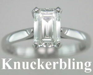 Diamond-Solitaire-Engagement-Ring-Solid-Platinum-Certificated-1-51ct-Emerald-Cut