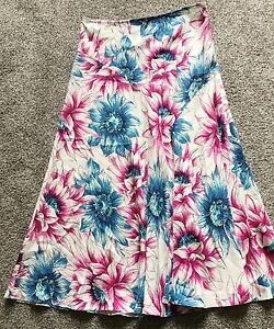 Ladies-Per-Una-Floral-Linen-Skirt-sz-12r-long-full-length-Blue-Pink-Bold