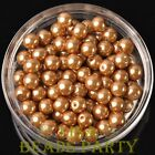 New 144pcs 8mm Round Czech Glass Pearl Loose Spacer Beads Gold