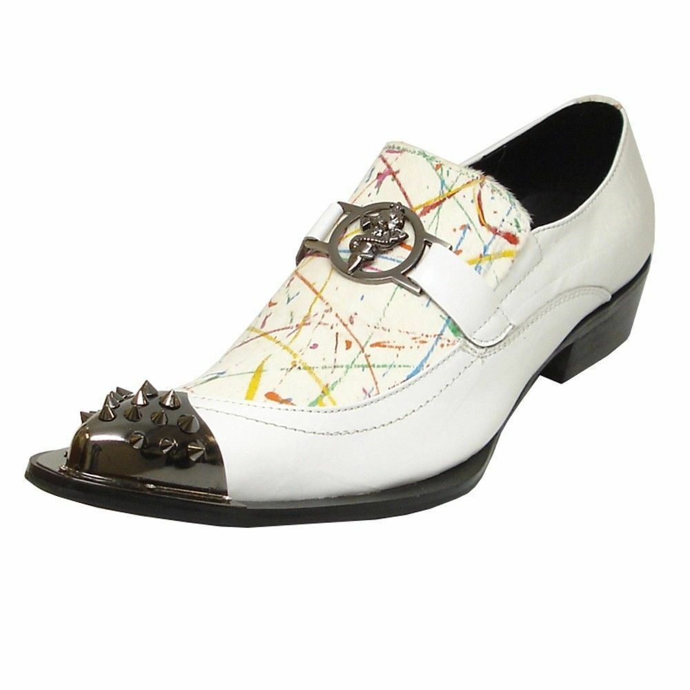 Fiesso White Leather Paint Pattern Metal Accent Spike Toe Mens Dress Party shoes