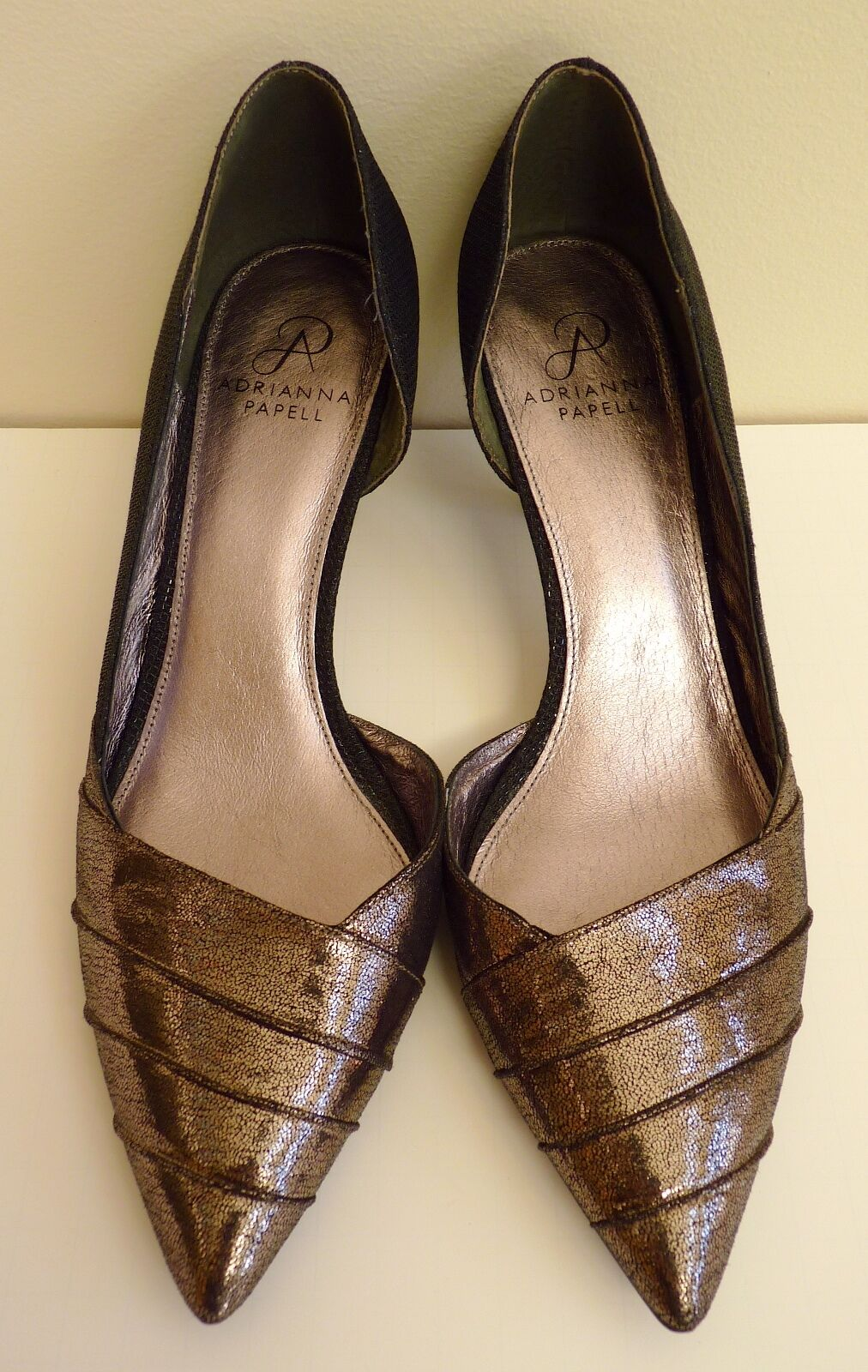Adrianna Papell Brown Leather Pointy Toe High Heel Shoes Size 9.5M EUC