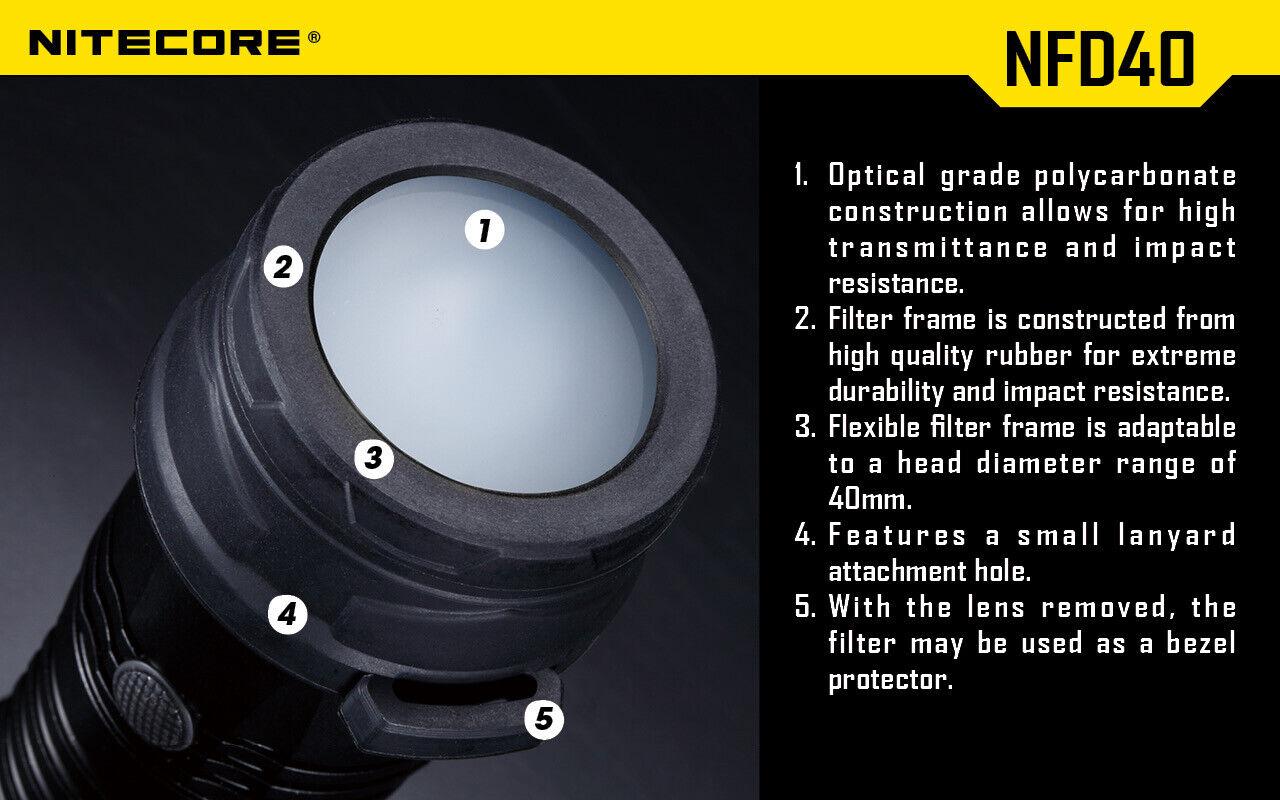 NiteCore NFB40 40mm Blue Lens Cap Filter Diffuser for P25 P16 P15 EA4 EA41 EA4W