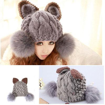 Womens Fur Cat Ear Horn Cap Ski Girls Knit Bobble Beanie Head Hat Warm Winter
