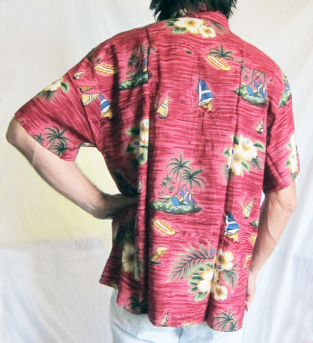 """Holiday Party new LOUD Hawaiian shirt dark red with boats Hibiscus M,50/"""" Chest"""