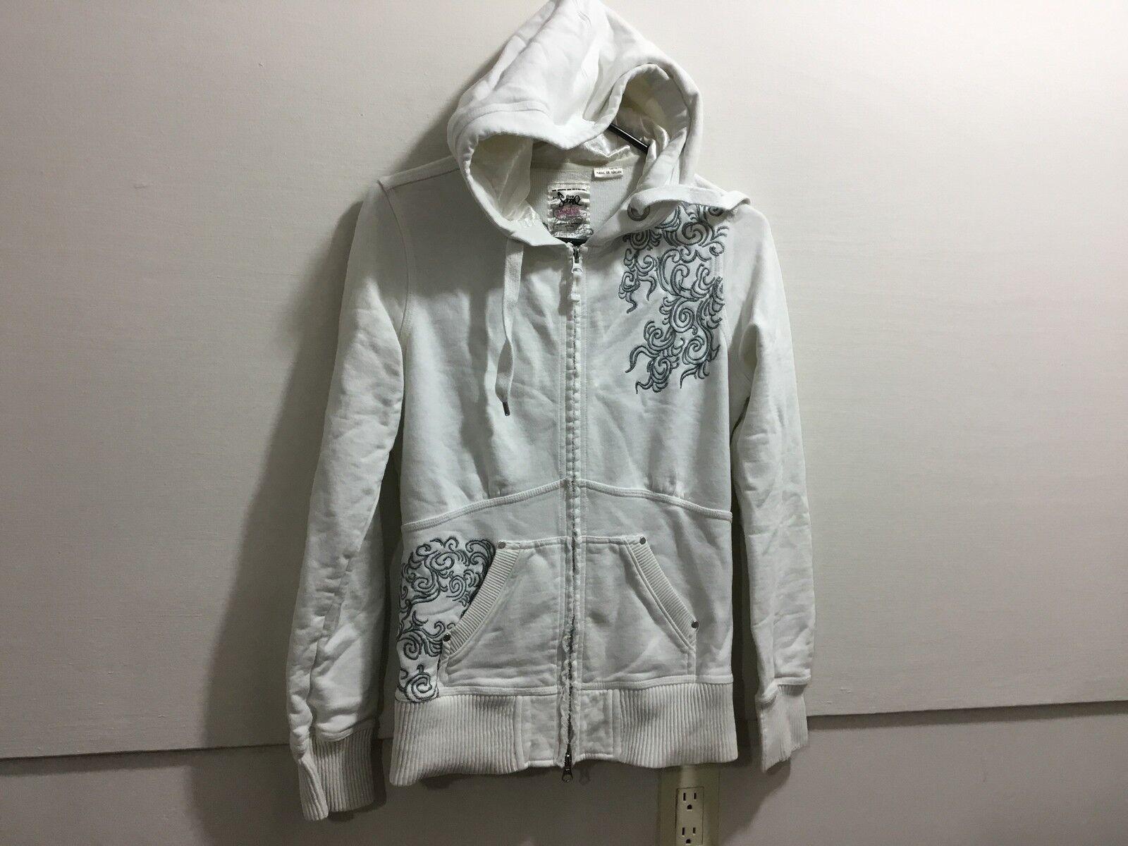 Ladies size medium embroided detail zipper front hooded sweatshirt