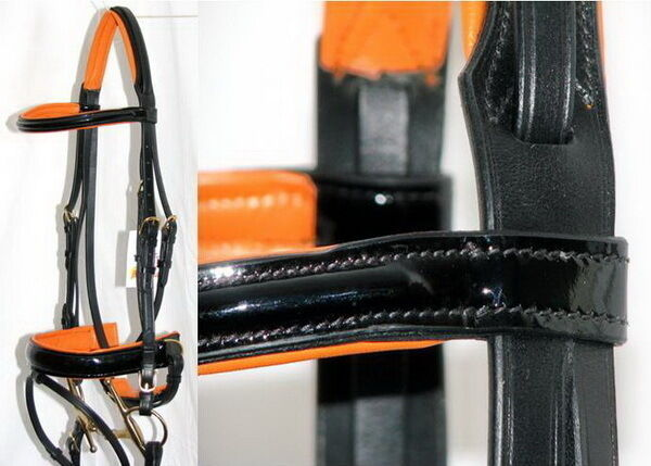 FSS PATENT Leather GLOSS Comfort Headpiece orange TAN Padded Dressage Bridle NEW