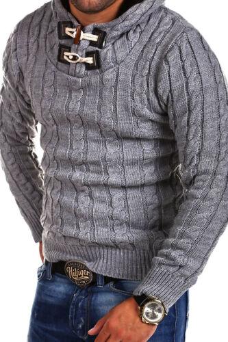 TAZZIO Strickpullover Hoodie Henley Pullover Troyer Grau//Schwarz//Weiß NEU