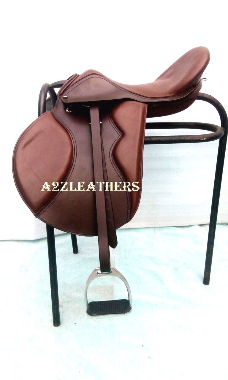 NEW  Brown  Leather Treeless GP (jumping) Saddle with accessory IN 9 SIZES  quality assurance