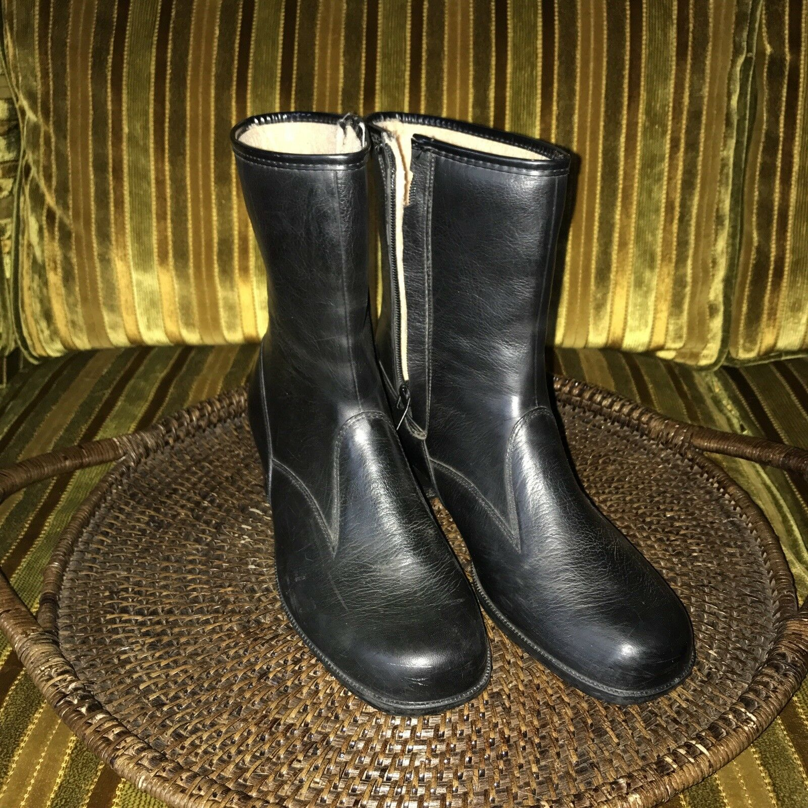 Vintage Rubber Boots With Fleece Lining